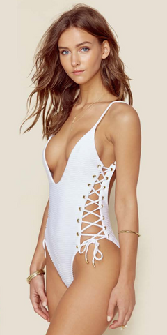 Blue Life Roped One Piece- White