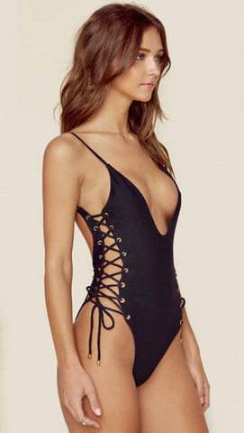 Blue Life Roped One Piece - Black