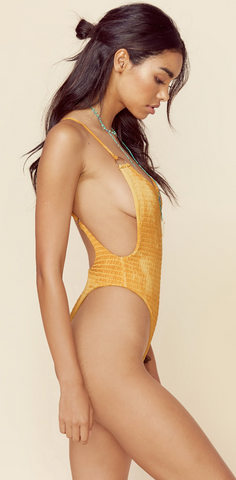 Scrunched Up Naked One Piece- Honey Tie-Dye