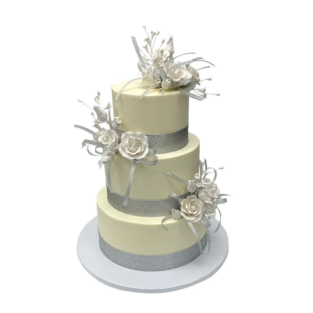 Bands of Silver Wedding Cake Wedding Cake Freed's Bakery