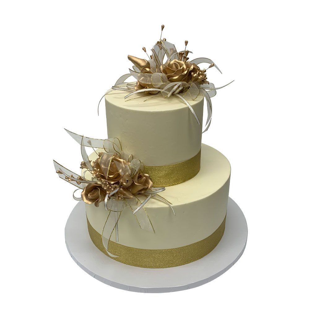 Bands of Gold Wedding Cake Wedding Cake Freed's Bakery
