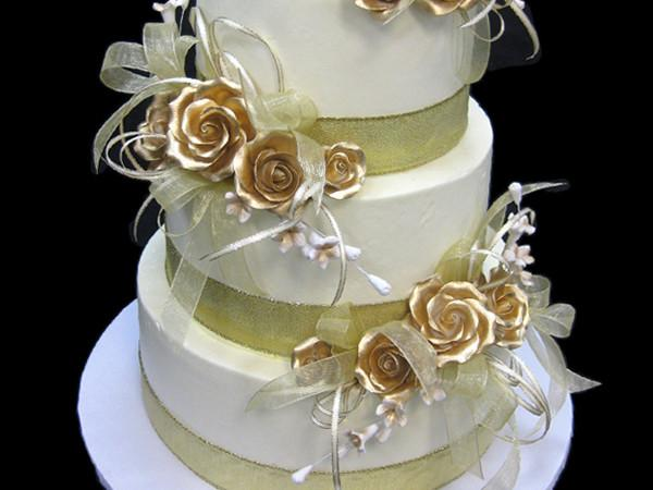 Bands of Gold Wedding Cake Freed's Bakery