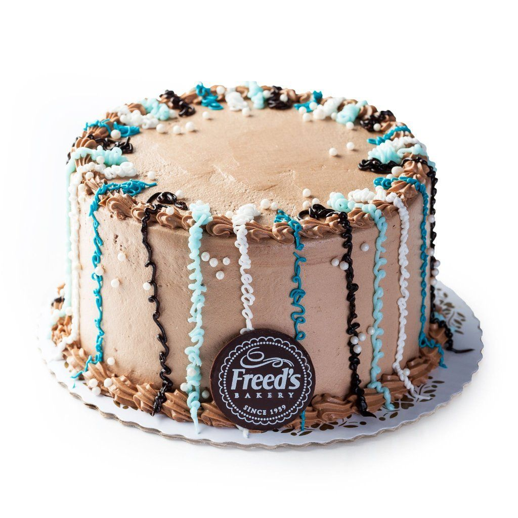 Blue and Creme Confetti (Nationwide Shipping) Cake Shipping Freed's Bakery