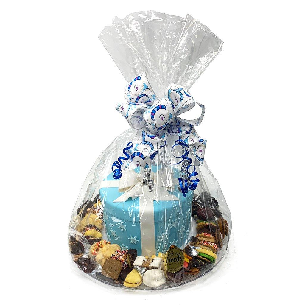 Blue Gift and Cookie Platter Holiday Item Freed's Bakery