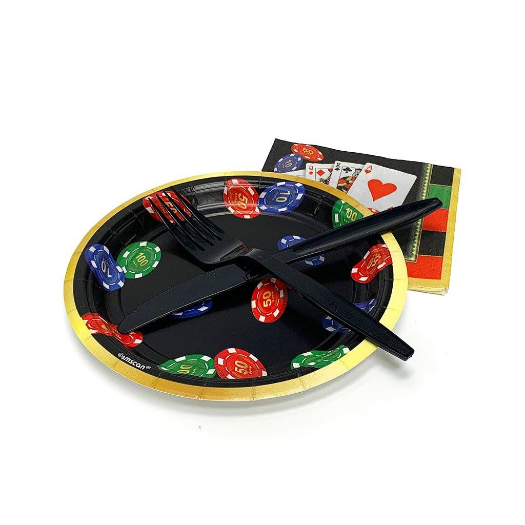 Plates & Utensils Candle Freed's Bakery Casino Set (Round) 5 Sets (Plate, Napkin, Fork, Knife)