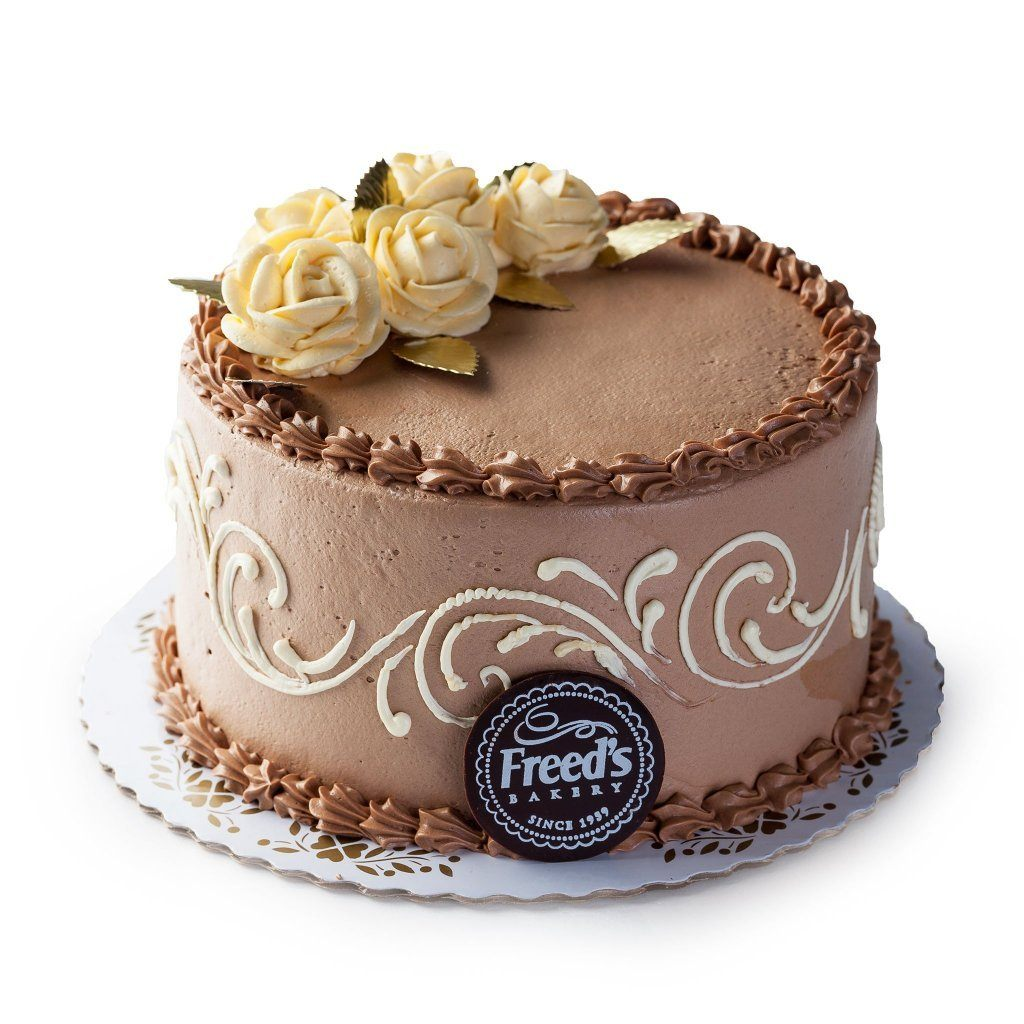 Chocolate and Ivory Flowers Cake Freed's Bakery