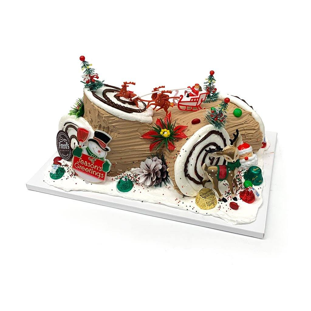Yule Log - Bûche de Noël Holiday Item Freed's Bakery 1/4 Sheet Vanilla w/ Bavarian Cream Chocolate Buttercream