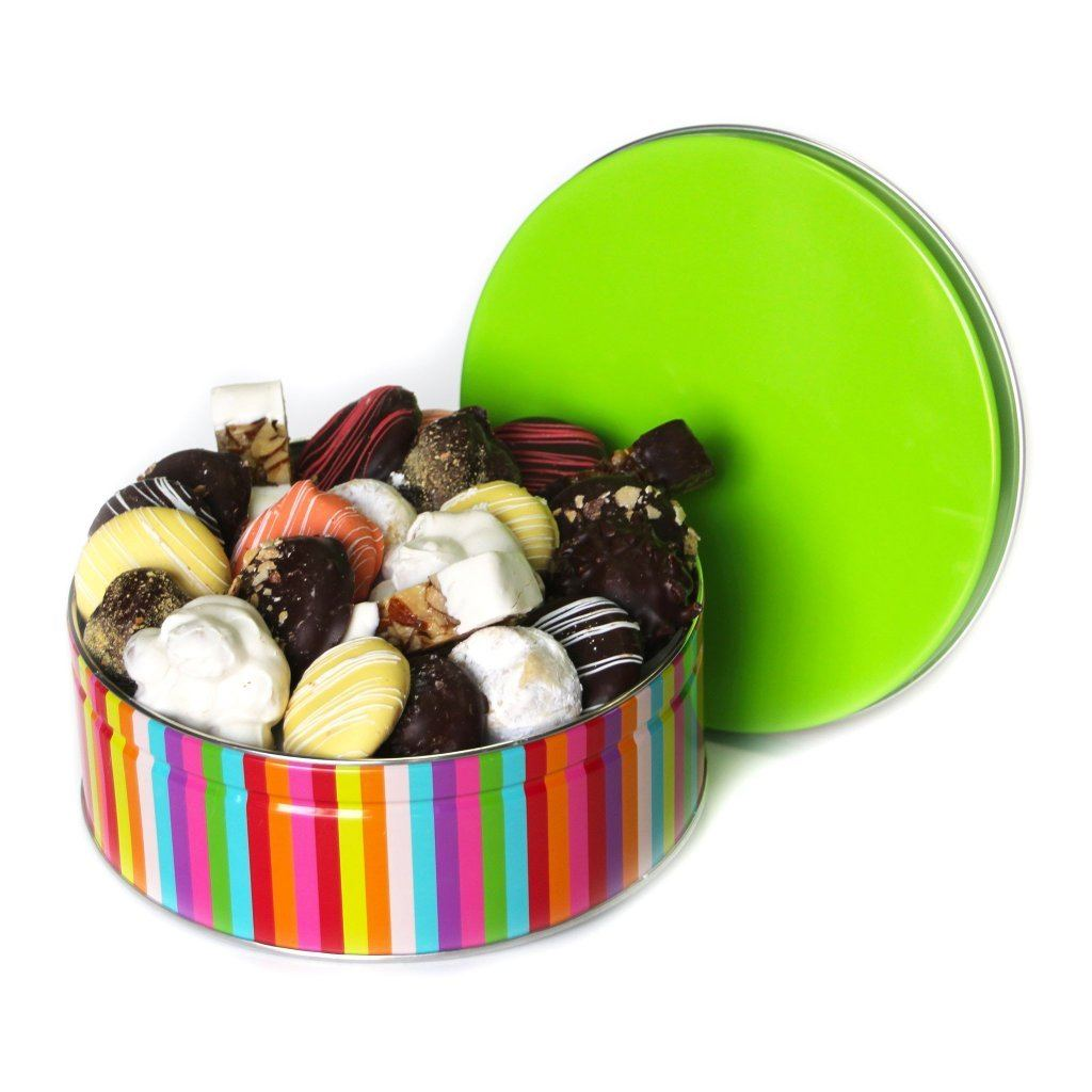 Rainbow Stripes Cookie Tin