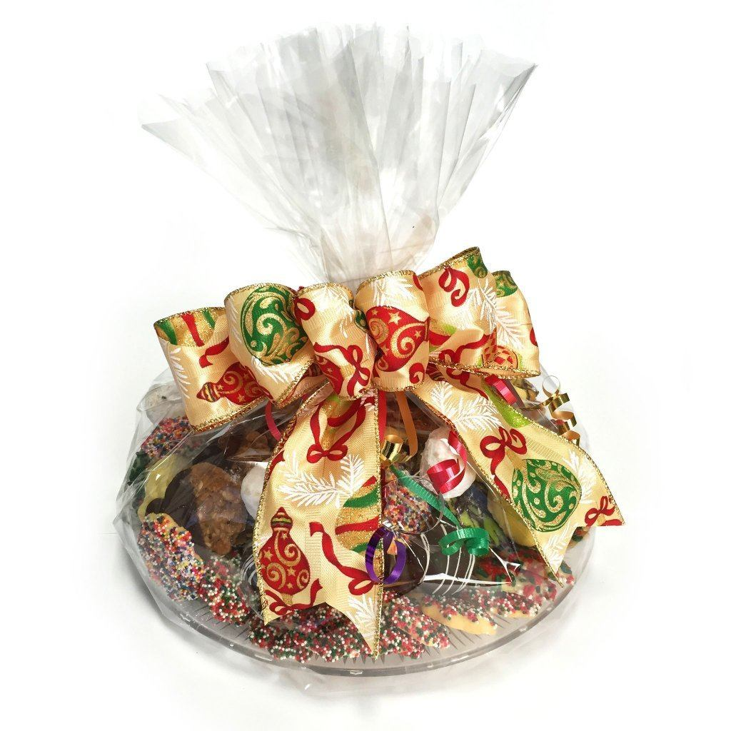 Christmas Cookie Tray (Hand Wrapped w/ Bow) Holiday Item Freed's Bakery