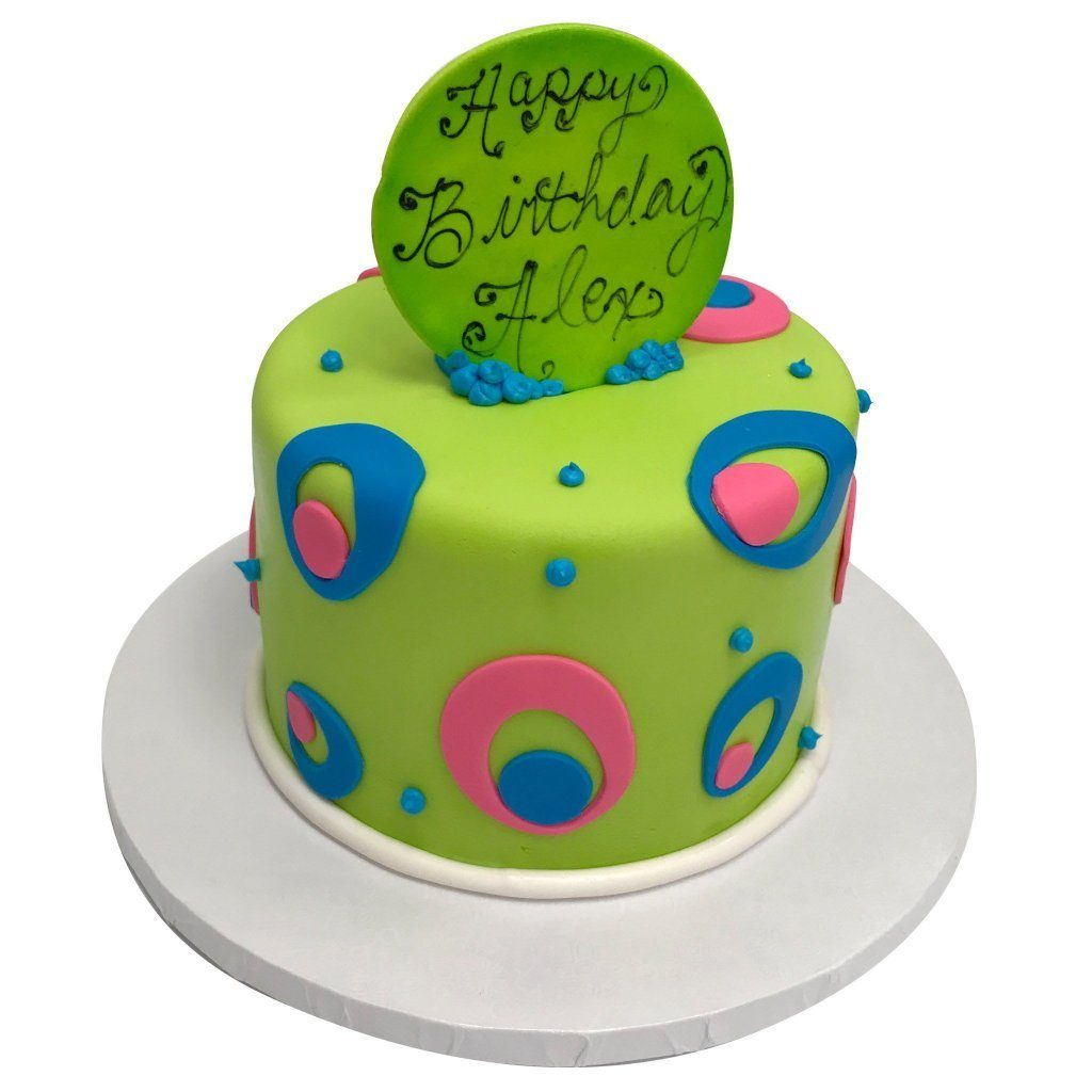 Dots of Neon Theme Cake Freed's Bakery