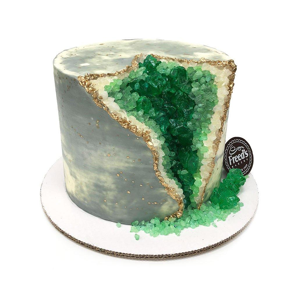 Emerald Geode Cake Theme Cake Freed's Bakery
