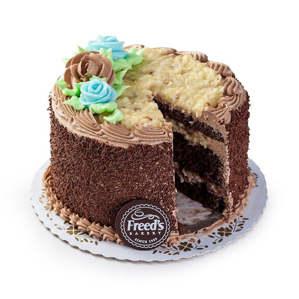 "Cozy-Sized German Chocolate Cake Dessert Cake Freed's Bakery 7"" Round (Serves 8-10)"