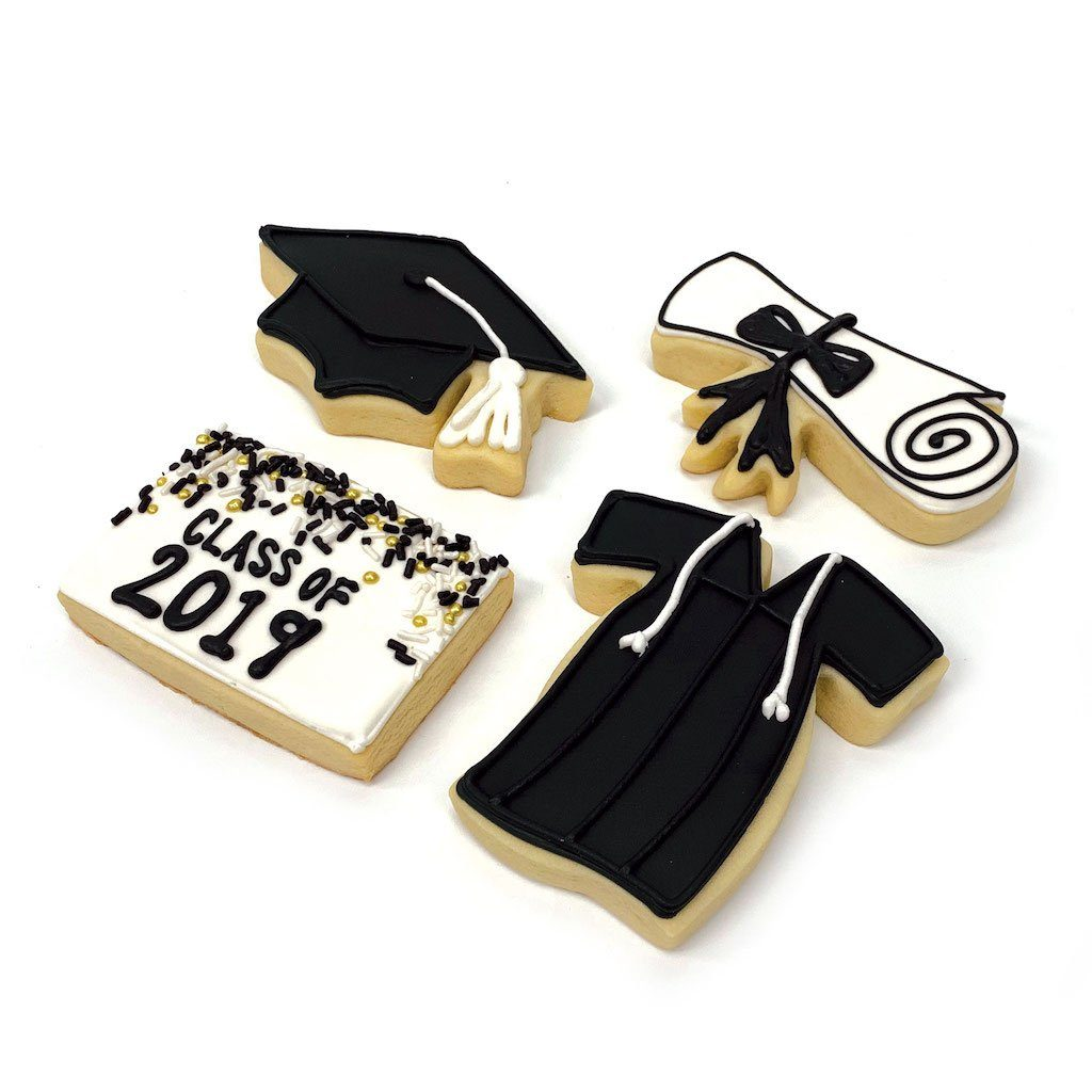 Grad Cookies in Black Graduation Freed's Bakery