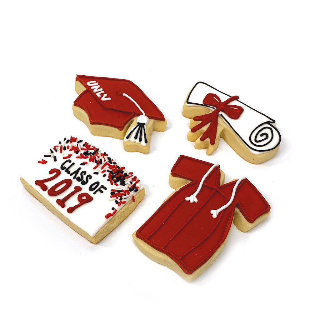 Grad Cookies in Red Graduation Freed's Bakery