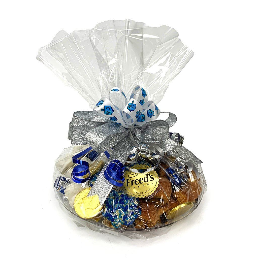 Hanukkah Cookie Tray (Hand Wrapped w/ Bow) Holiday Item Freed's Bakery