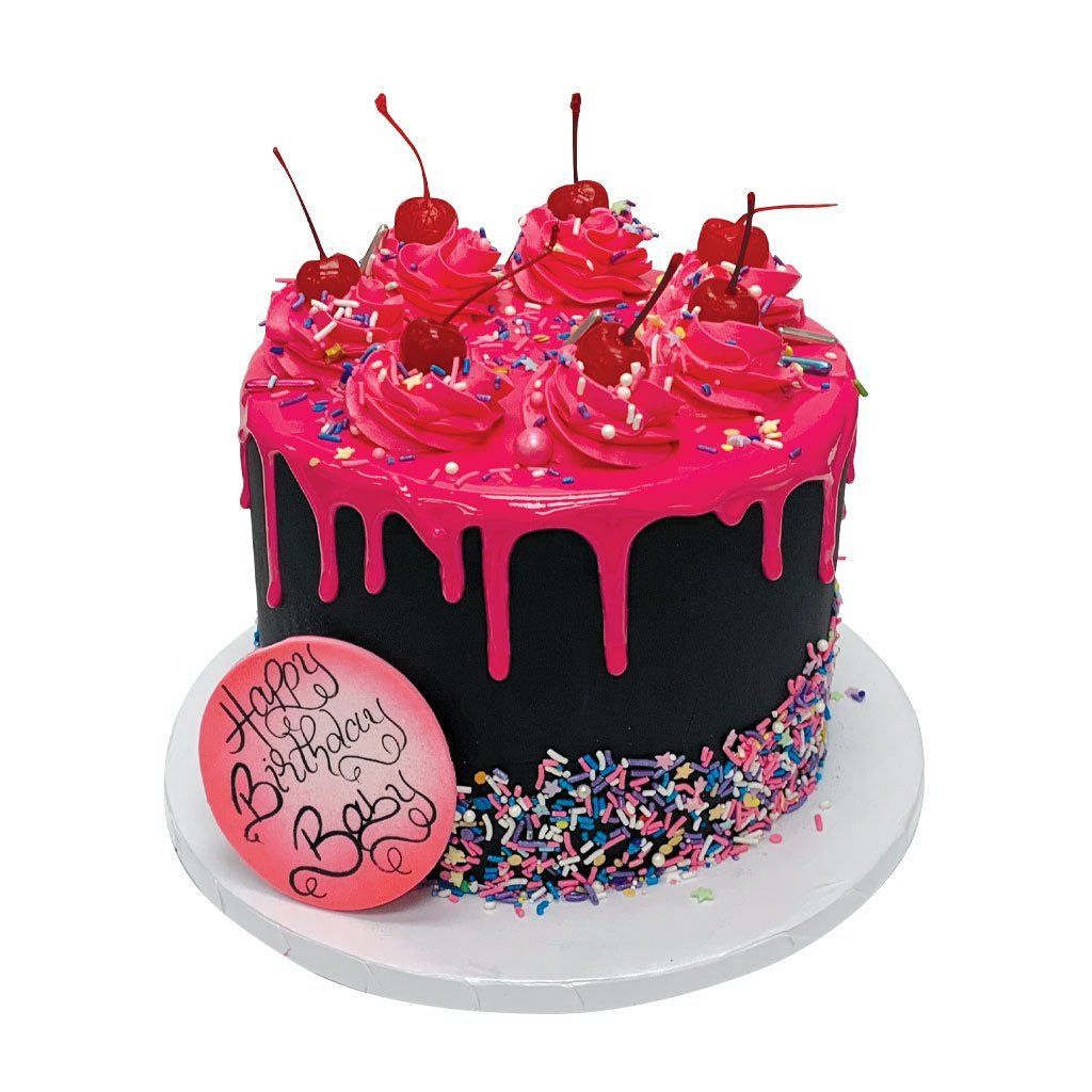 Hot Pink Cherry Drip Theme Cake Freed's Bakery