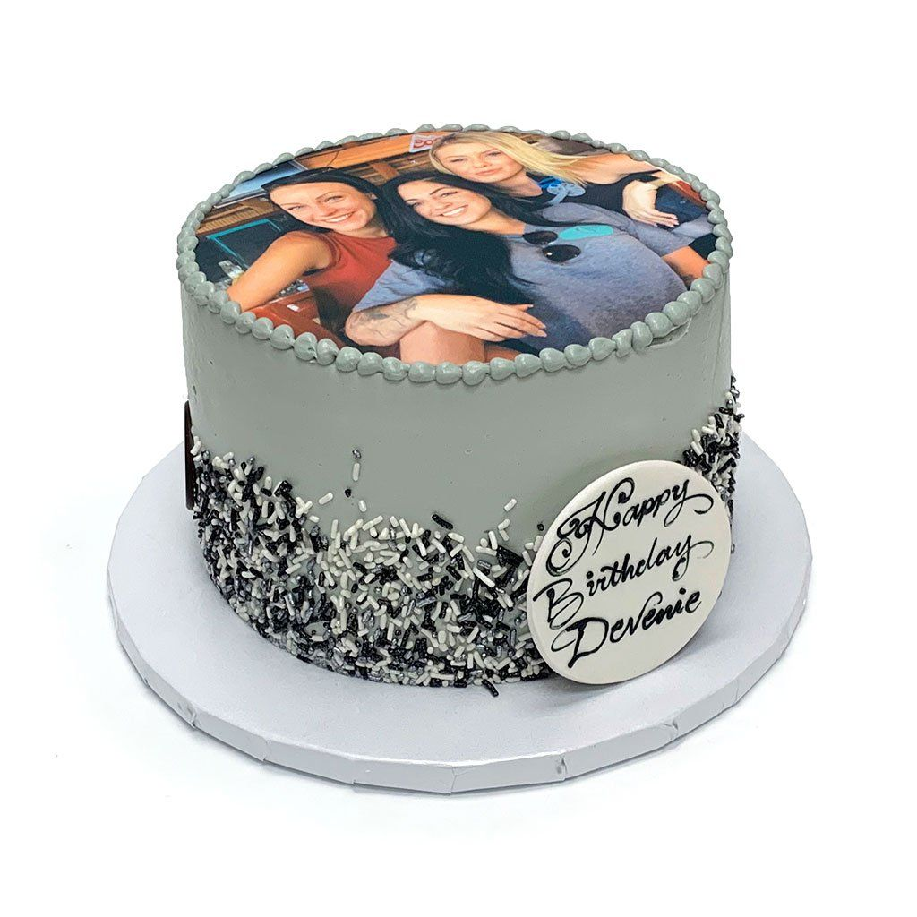 Monochrome Photo Cake Theme Cake Freed's Bakery