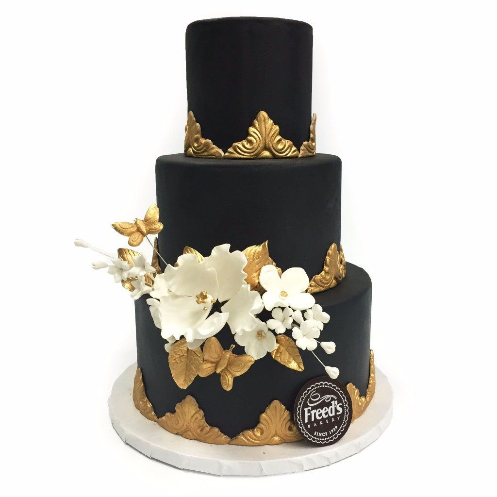 Ornate Gold Wedding Cake Freed's Bakery