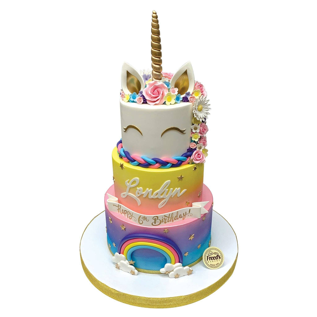Over the Rainbow Unicorn Theme Cake Freed's Bakery
