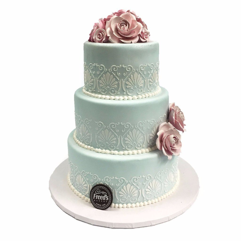 Pale Blue Roses Wedding Cake Freed's Bakery