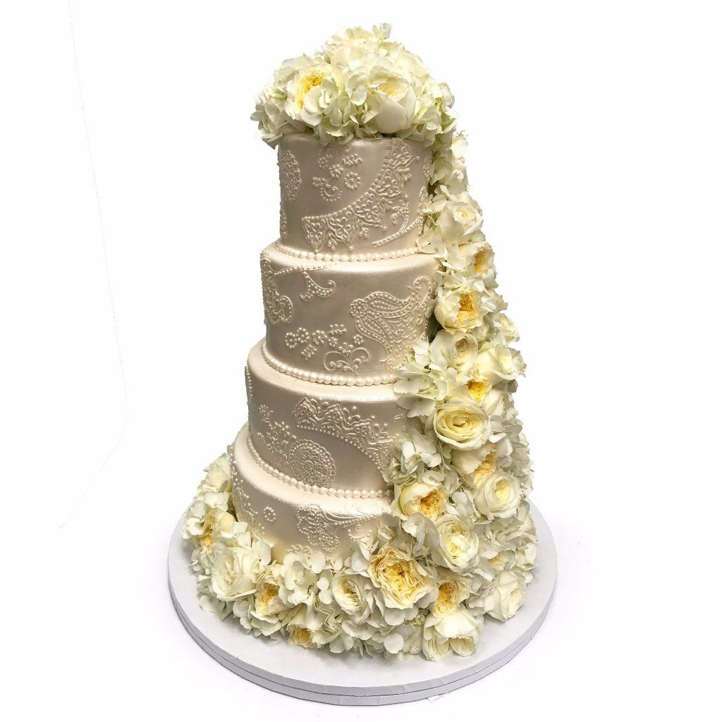 Patterned Floral Wedding Cake Freed's Bakery