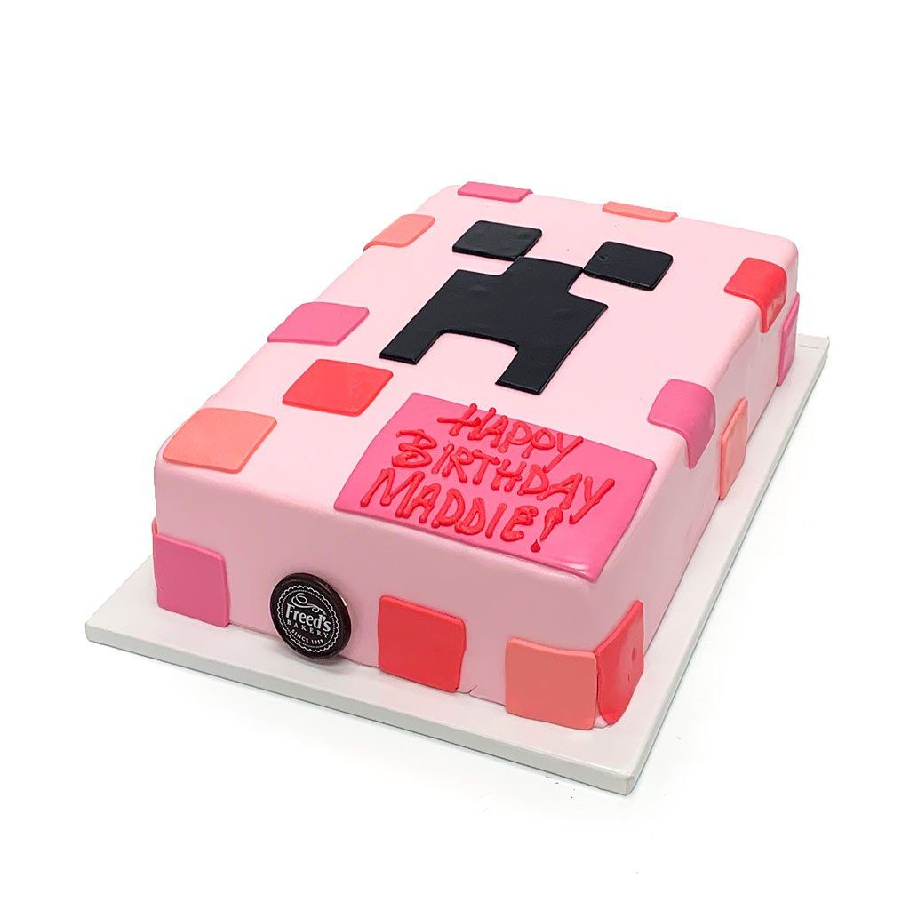 Pink Creeper Birthday Cake Theme Cake Freed's Bakery