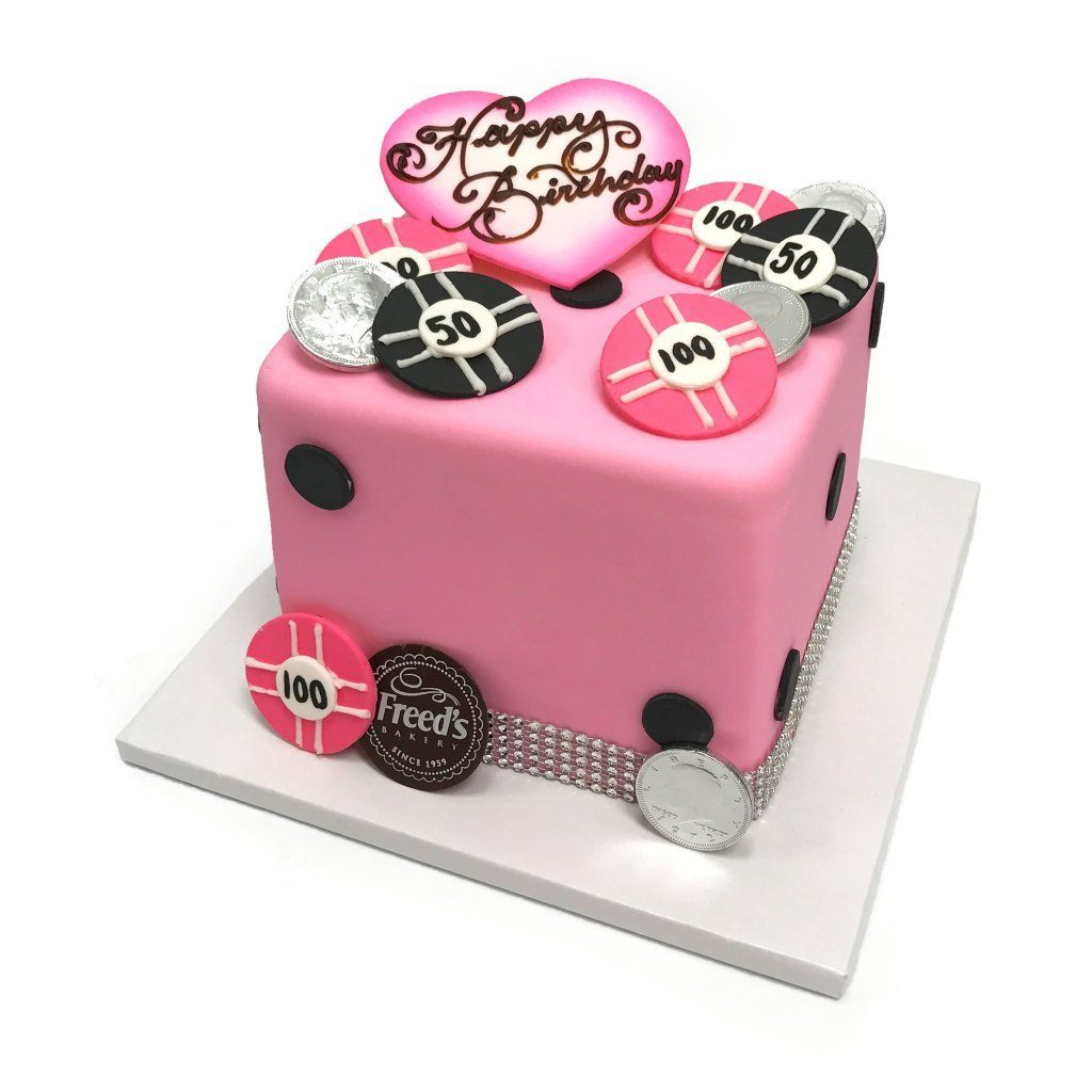 Pink Dice Vegas Theme Cake Freeds Bakery