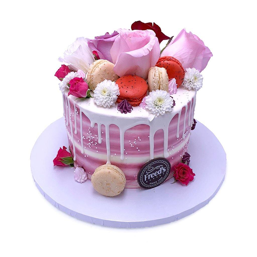 Pink Rose Macaron Theme Cake Freed's Bakery