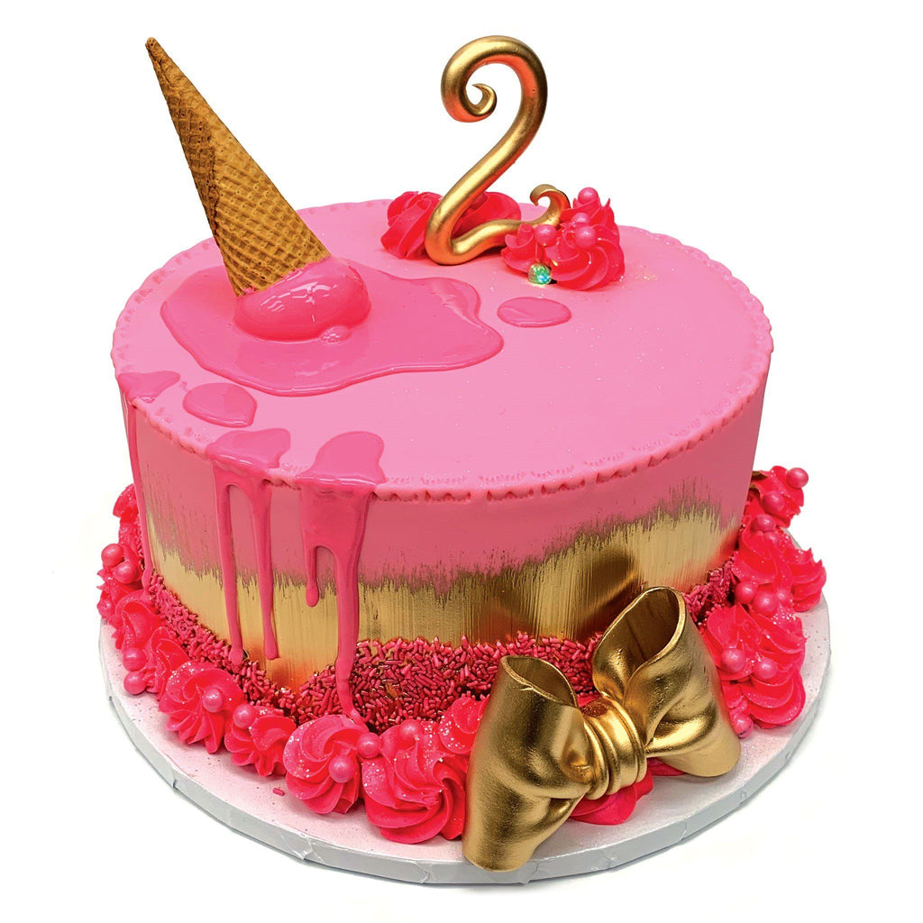 Pink and Gold Melt Theme Cake Freed's Bakery