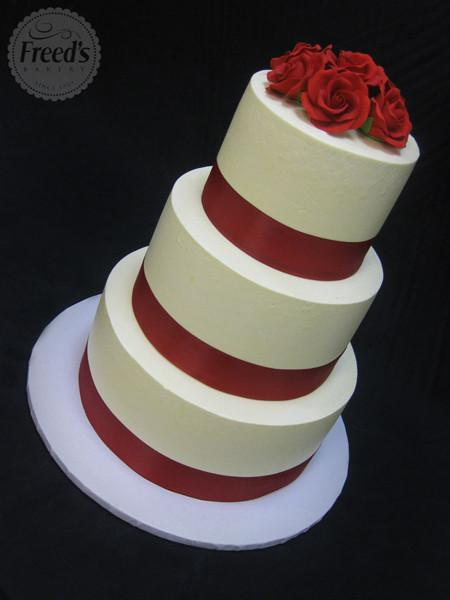 Red Ribbon Roses Wedding Cake Freed's Bakery