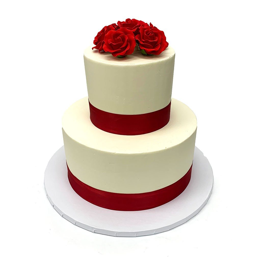 Red Ribbon Roses Wedding Cake Wedding Cake Freed's Bakery
