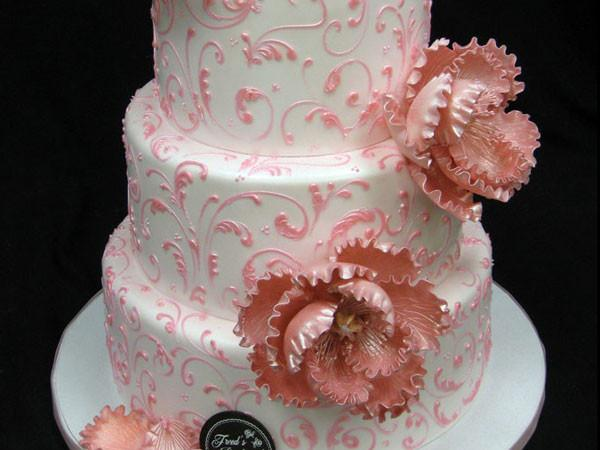 Scroll Peonies Wedding Cake Freed's Bakery