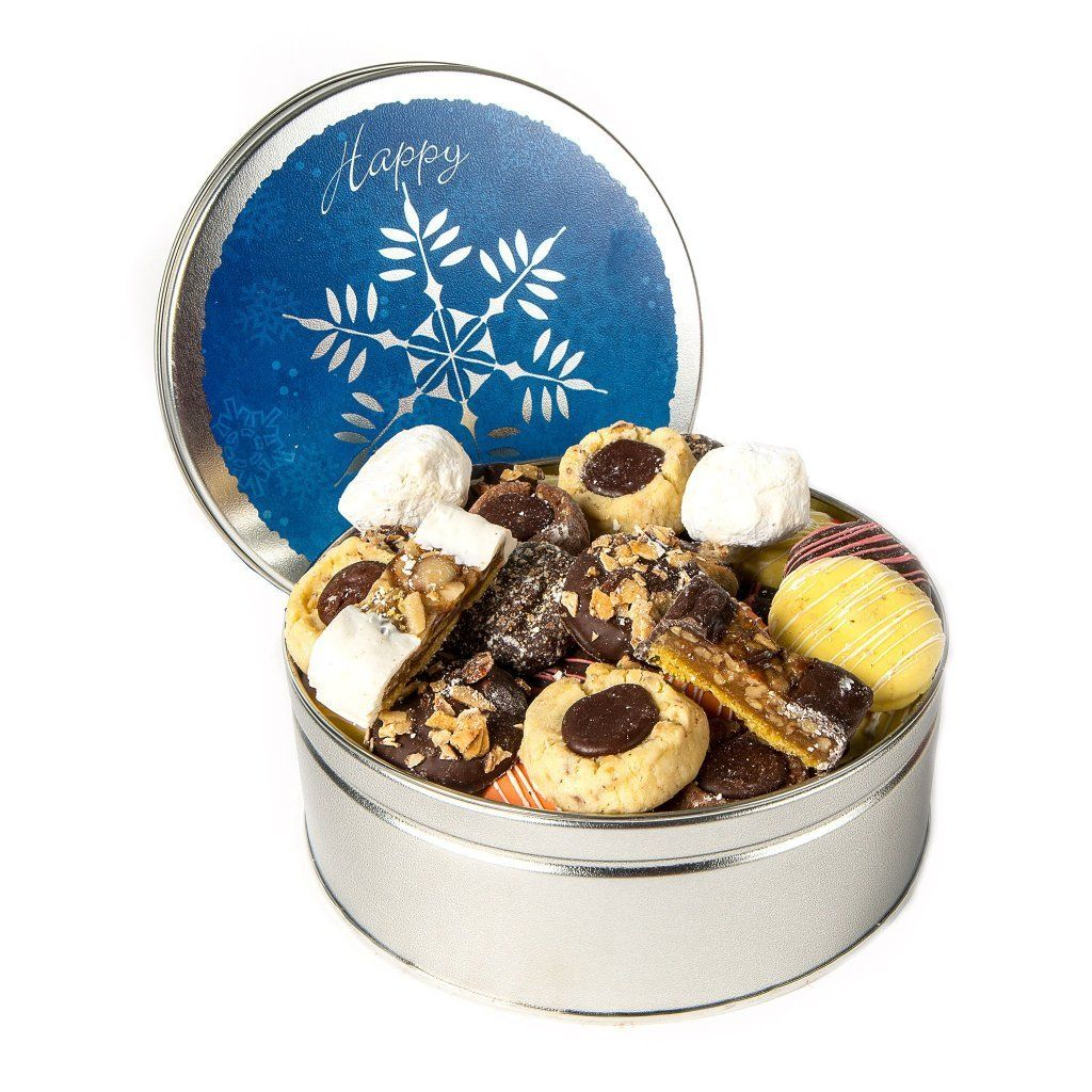 Blue Snowflake Cookie Tin Cookie Tin Freed's Bakery