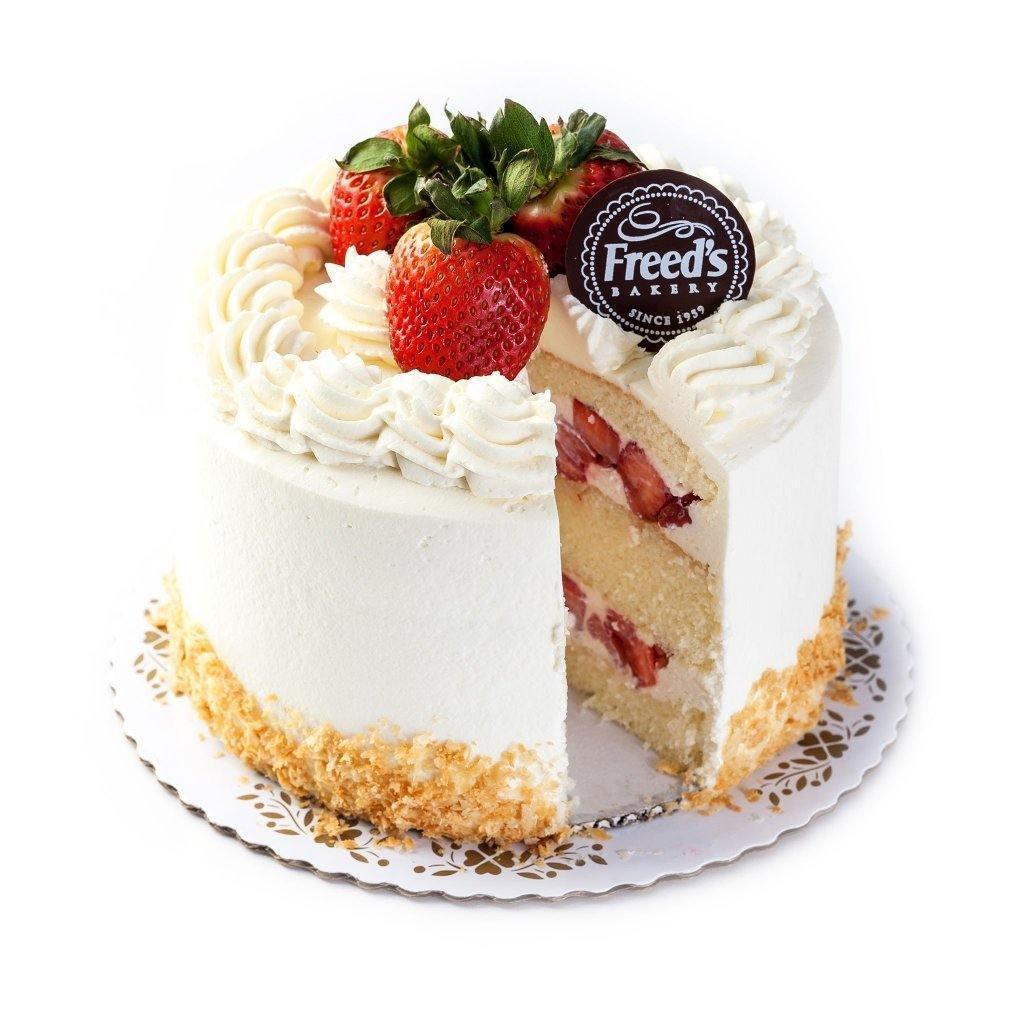 "Cozy-Sized World Famous Strawberry Shortcake Dessert Cake Freed's Bakery 7"" Round (Serves 8-10)"