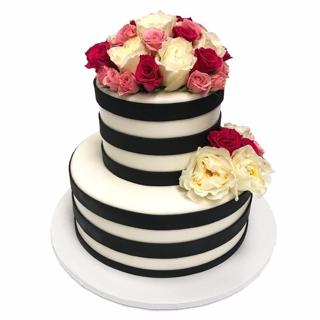 Stripes and Roses Wedding Cake Freed's Bakery