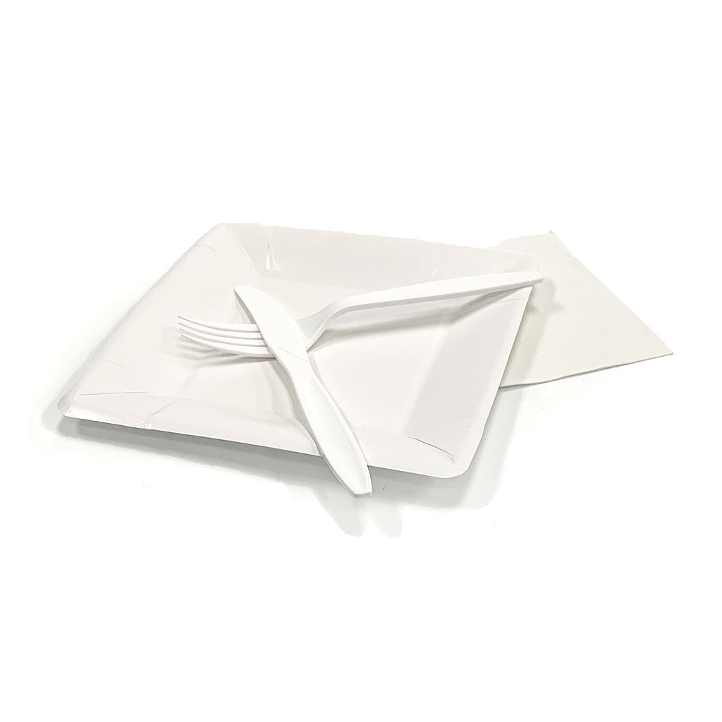 Plates & Utensils Candle Freed's Bakery White Set (Square) 1 Set (Plate, Napkin, Fork, Knife)