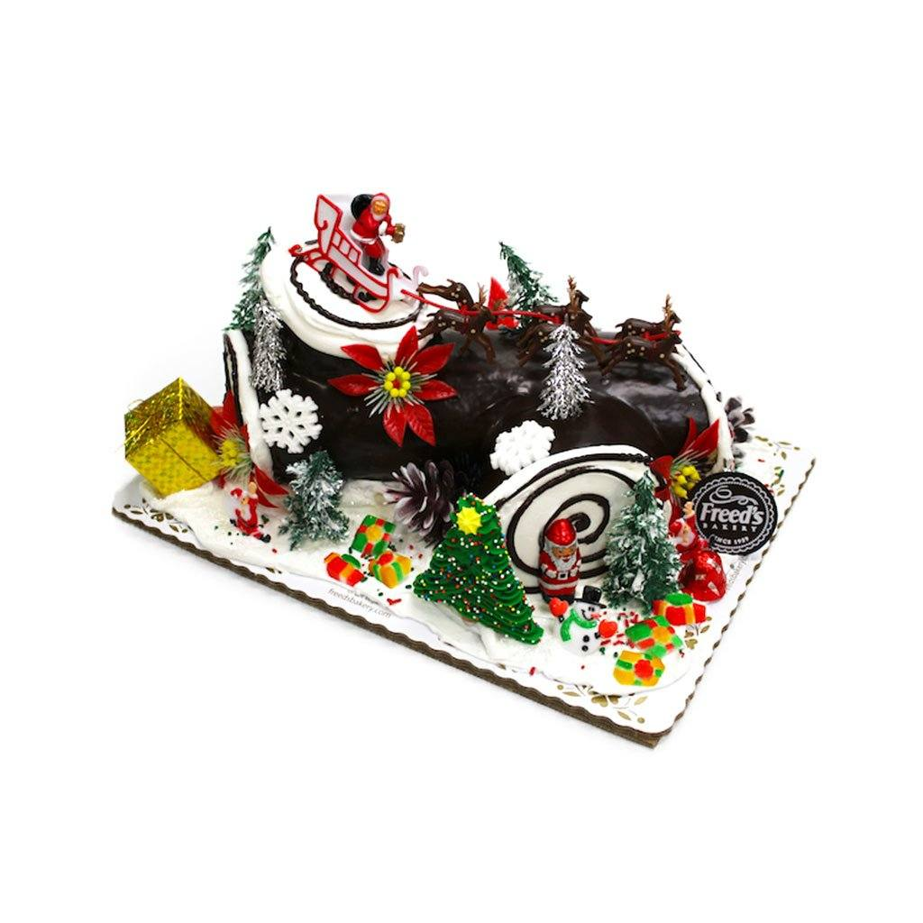 Yule Log - Bûche de Noël Holiday Item Freed's Bakery 1/4 Sheet Vanilla w/ Bavarian Cream Ganache