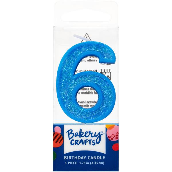 Mini Number Candle Candle Freed's Bakery Number Six Candle Blue