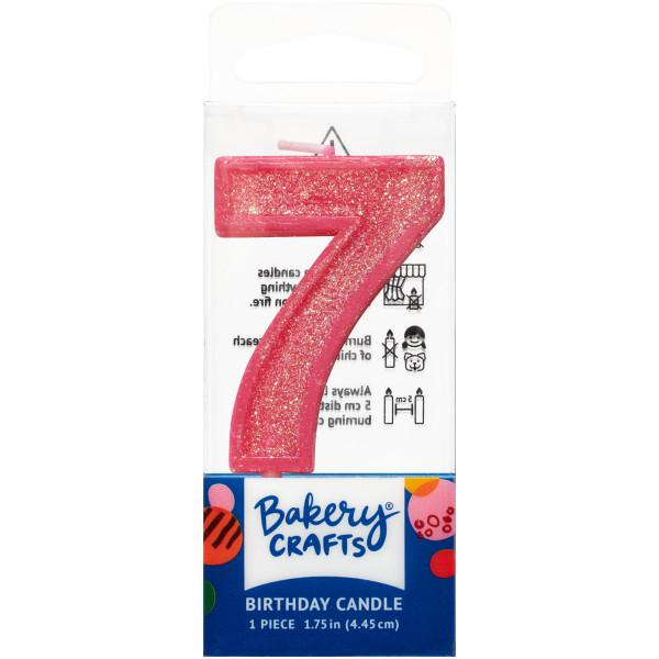 Mini Number Candle Candle Freed's Bakery Number Seven Candle Pink