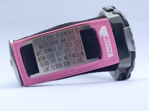 Pink 1BandID on Running Watch
