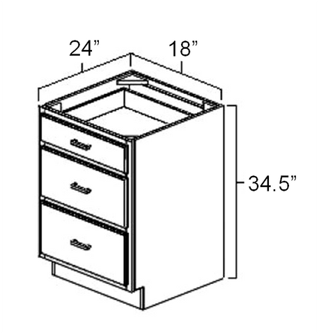 "18"" x 24"" x 34.5"" Three Drawer Base Cabinet"