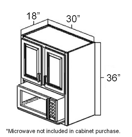 "30"" x 18"" x 36"" Microwave Wall Cabinet"
