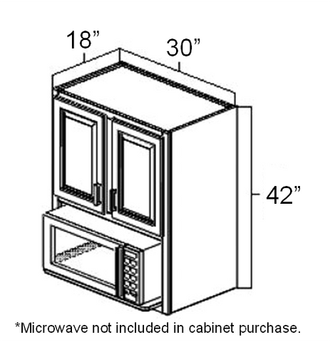 "30"" x 18"" x 42"" Microwave Wall Cabinet"