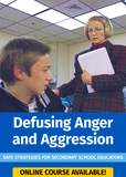 Image of a classroom and text, Defusing Anger and Aggression
