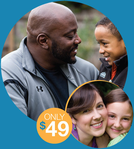 Smiling families and Only $49 graphic
