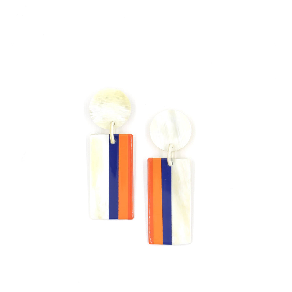 Sunshine Tienda Cobalt and Orange Vertical Sunrise Cabana Earrings