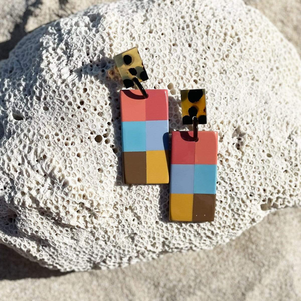 Sunshine Tienda® Colorful Plaid Cabana Horn Earrings