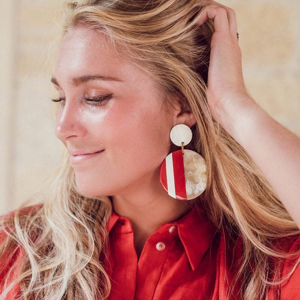 Sunshine Tienda Crimson and White Circle Earrings