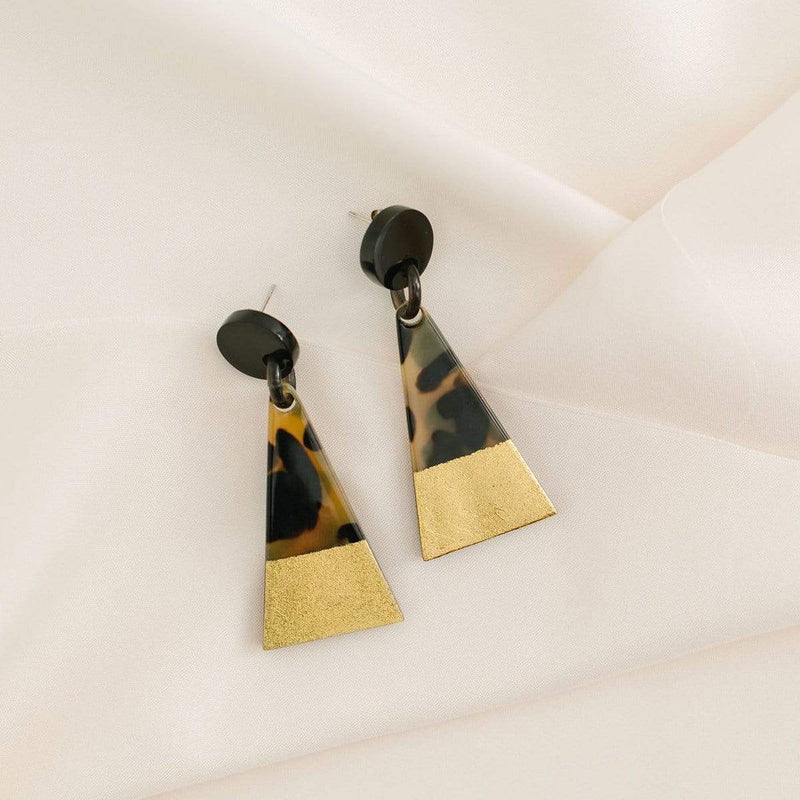 Sunshine Tienda Gold Dipped Tortoise Triangle Earrings