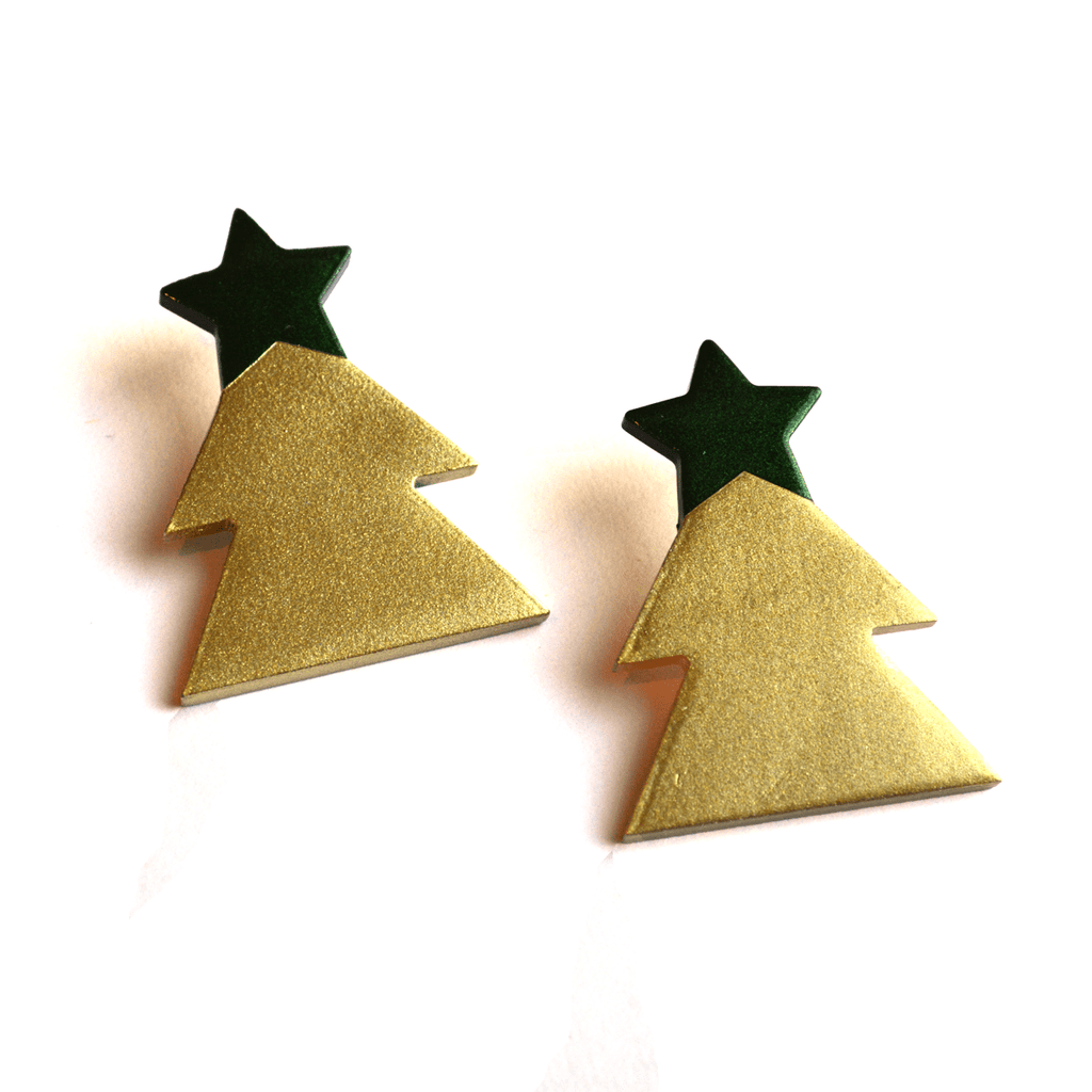 Sunshine Tienda Green Christmas Tree Horn Earrings